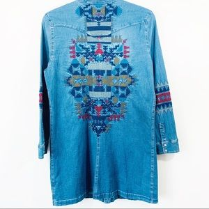 Johnny Was 3J Workshop Chambray Embroidered dress